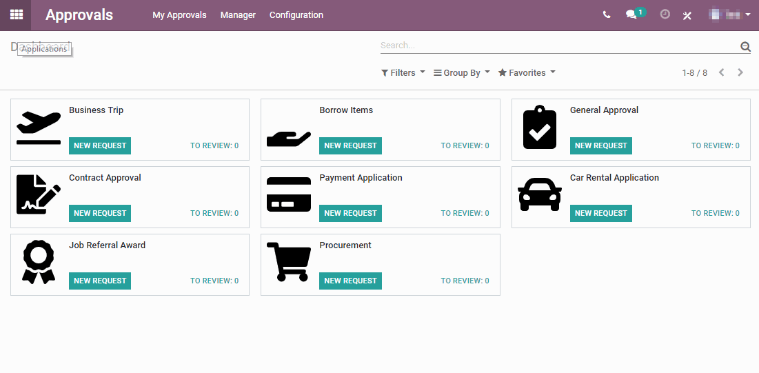 Screenshot des Approval Dashboard